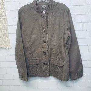 J. Jill linen military minimalist jacket cocoa M